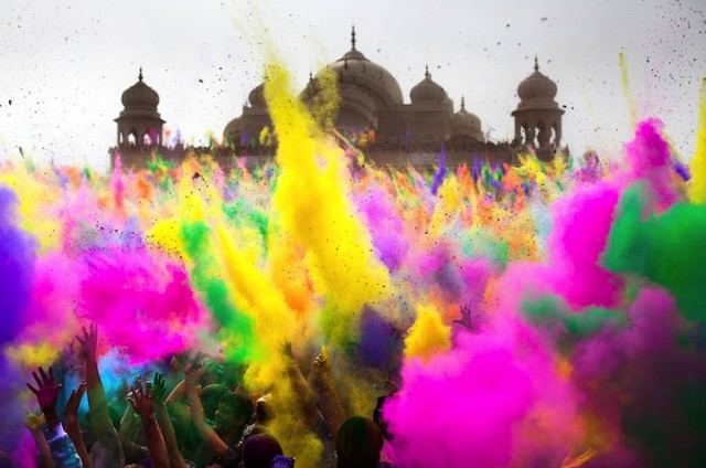 holi by Parker Walbeck Holi slow motion close up with mosque in background - saved by Chic n Cheap Living