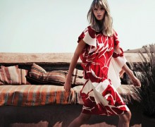 Escada S:S 2014- Julia Stegner by Claudia Knoepfel and Stefan Indlekofer white red dress - saved by Chic n Cheap Living