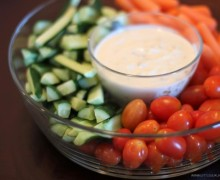 Onion dip with crudites front and side view by Chic n Cheap Living